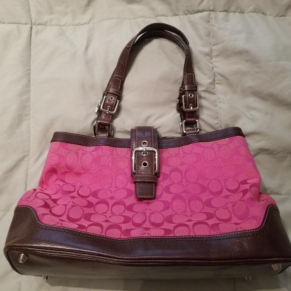Coach Handbags - Pink and brown Coach bag